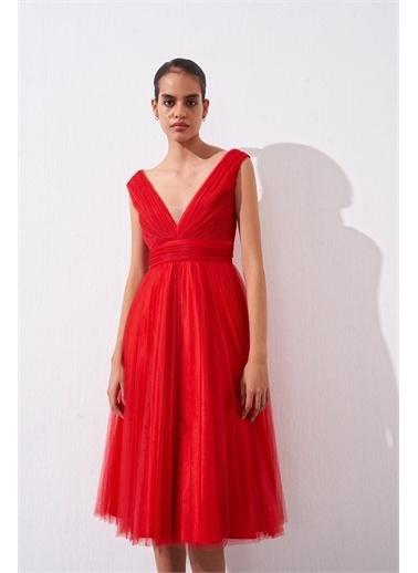 Rue Dökümlü Tül Elbise Kırmızı